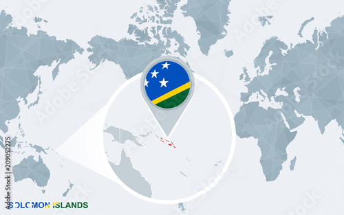 Solomon Islands World Map.World Map Centered On America With Magnified Solomon Islands Stock