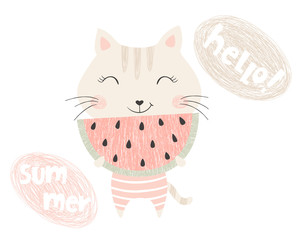 Cute kitty with watermelon
