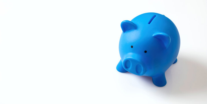 Piggy bank, blue with copy space, isolated on white background, banner,