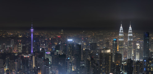 NIght view from high angle of Kuala Lumpur city centre