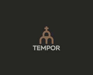 Church vector logotype. Line cross house logo