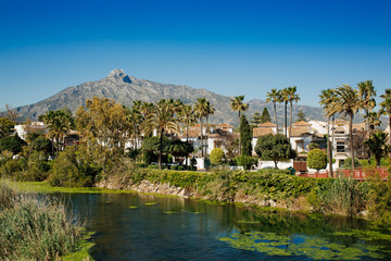 View from suspension footbridge over the Rio Verde near from Puerto Banús, Spain.