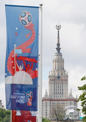 Decorations for the upcoming 2018 FIFA World Cup is seen at Luzhniki Stadium in Moscow