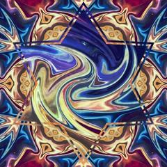 Creative mystical mandala. Kaleidoscopic abstract wallpaper. Sacred geometry digital painting art. Ethnic fractal artwork. Symmetric stylish graphic design pattern. Good for print on fabric or canvas.