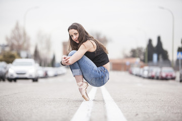woman dancer on ballet tips 05