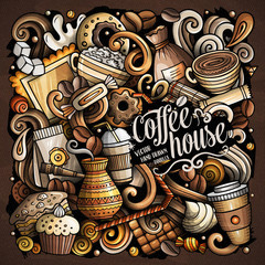 Cartoon vector doodles Coffee House illustration