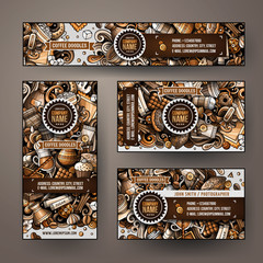 Corporate Identity vector templates set design with doodles hand drawn Coffee Shop theme