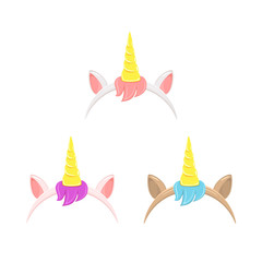 Set of unicorn headbands with hair