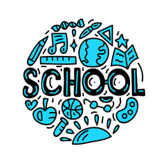 Back to school. Lettering with doodles. Vector illustration
