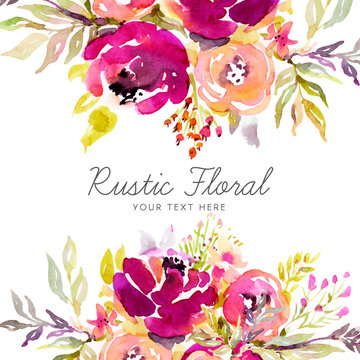 Rustic marsala background with watercolor flowers