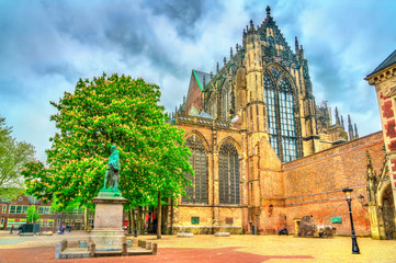 Statue of Jan van Nassau and St. Martin Cathedral in Utrecht, the Netherlands