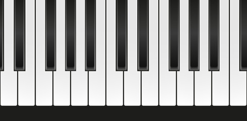 Vector seamless realistic piano keyboard on black background
