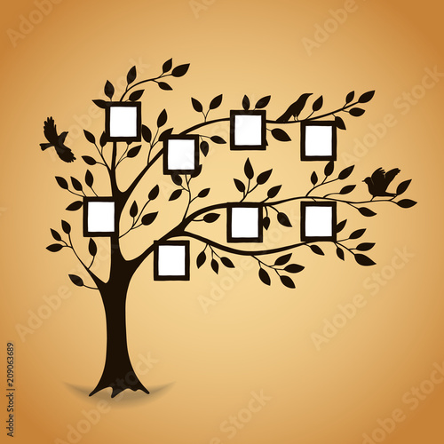 Family tree with photo frames  Memories  Insert your photo into