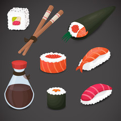 Sushi vector icon. Detailed, 3d, realistic art.