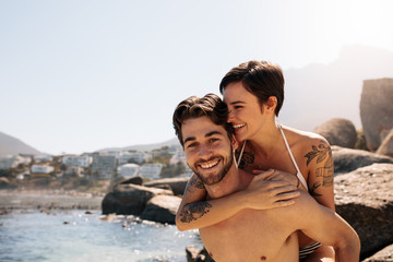Tourist couple in romantic mood outdoors on a holiday