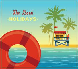 Summer landsape - lifeguard station, sea, palm and lifebuoy.