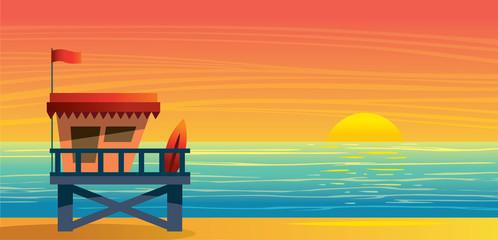 Summer landsape - lifeguard station, sea and sunset.