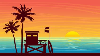 Summer landsape - lifeguard station, sea, palm and sunset. Wall mural