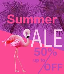 Flamingo Summer sale card Vector. violet and pink backgrounds