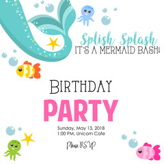 Birthday invitation with mermaid