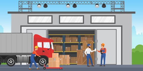 Vector Warehouse workers are arranging goods on the shelves. Warehouse exterior building wirh cargo truck.