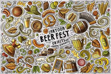 Vector doodle cartoon set of Beer fest objects