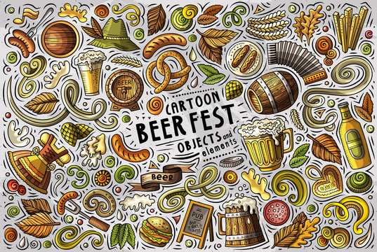 Vector doodle cartoon set of Beer fest objects