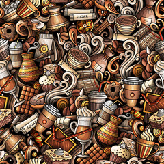 Cartoon cute doodles hand drawn Coffee Shop seamless pattern