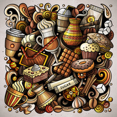 Cartoon vector doodles Coffee House illustration