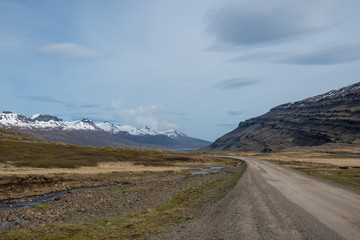Mountain road Oxi in East Iceland