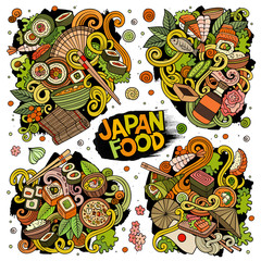 Vector hand drawn doodles cartoon set of Japan food combinations of objects