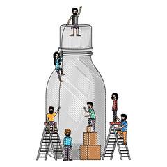 minipeople team working in bottle vector illustration design