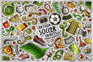 Vector doodle cartoon set of Soccer objects