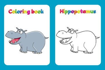 Coloring book page for  children with colorful hippopotamus  fru