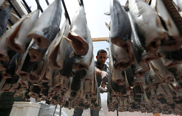 Palestinian man prepares salted fish to be sold in a market ahead of the upcoming Eid al-Fitr holiday marking the end of the Muslim holy month of Ramadan, in Khan Younis in the southern Gaza Strip