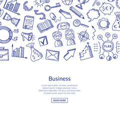 Vector business doodle icons background illustration