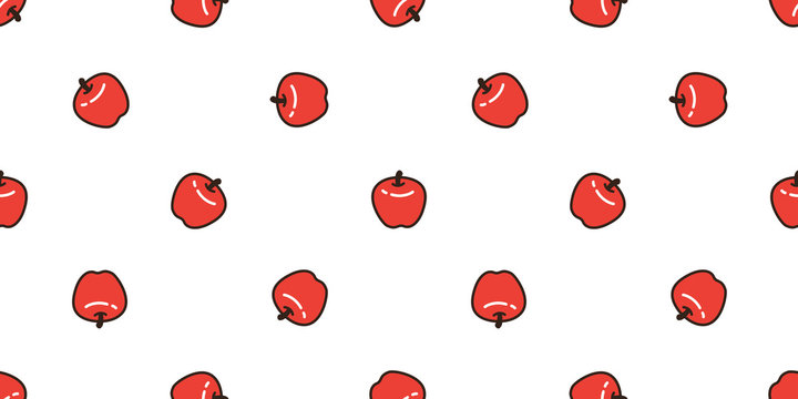 apple seamless pattern vector fruit isolated cartoon wallpaper repeat background