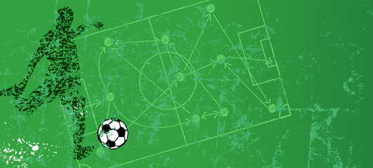 Grungy soccer or football illustration, with soccer striker and soccer ball free copy space.