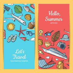 Vector hand drawn summer travel elements banners illustration