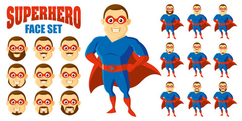 Superhero Face Set Cartoon character