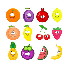 Cartoon set of different fruits. Smiling peach, lemon,  watermel