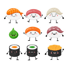 Cute cartoon sushi set characters. Kawaii sushi. Vector illustra