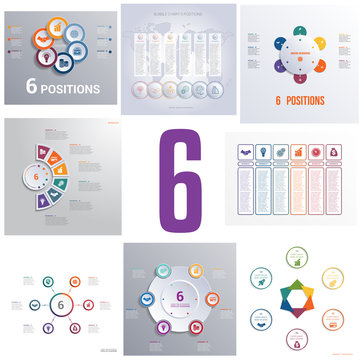 Set 8 universal templates elements Infographics conceptual cyclic processes for six positions