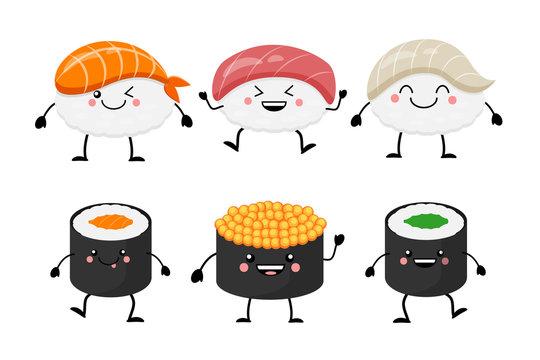 Cute cartoon sushi set characters. Kawaii sushi. Vector illustra