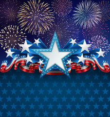 Patriotic American Background with Fireworks