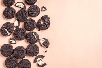 Chocolate and cream sandwich cookies