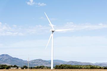 wind turbine in a natural landscape