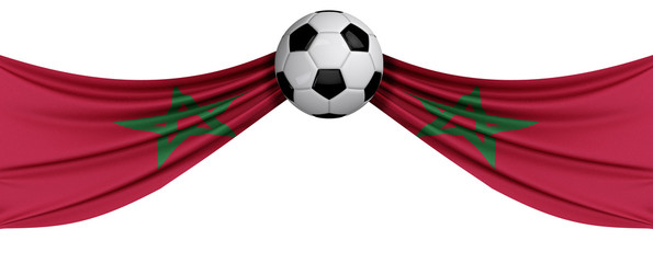 The national flag of Morocco with a soccer ball. Football supporter concept. 3D Rendering