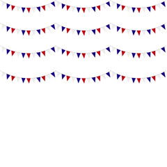 Festive garlands of red blue flags on a white background.