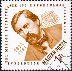 A stamp printed in Hungary shows Architect Miklos Ybl and Budapest Opera